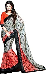 Ambica Women's Chiffon Saree(MG00005_Multicolor_FreeSize)