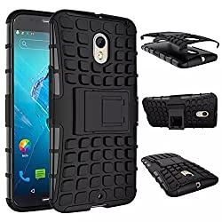 Plus Shock Proof Protective Rugged Armor Super Hybrid Heavy Duty Back Case Cover For Motorola Moto X Style - Rugged Black