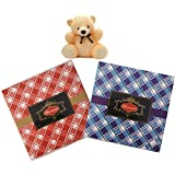 Stylish 100gms Chocolate Check Design Pack With A Cute Teddy- Dry Fruit Collection