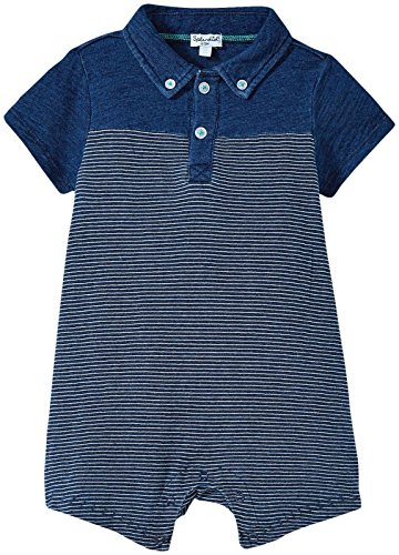 Splendid Indigo Collared Romper, Dark Stone Stripe, 0-3M