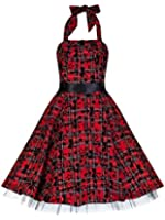 50's Vintage Alternative Style Red Tartan Tattoo Halterneck Rockabilly Dress