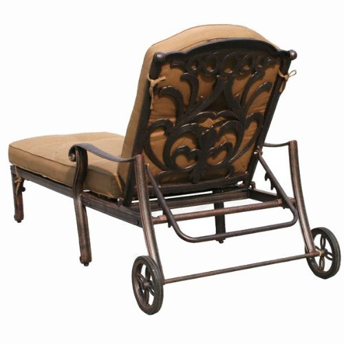 Mandalay Cast Aluminum Powder Coated Chaise Lounge with Cushion - Antique Bronze 1