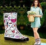 レインシューズ レインブーツ 雨靴 レディース 女性用 雨具 靴 ミドル丈 英字柄 カラフル hy403-yx20
