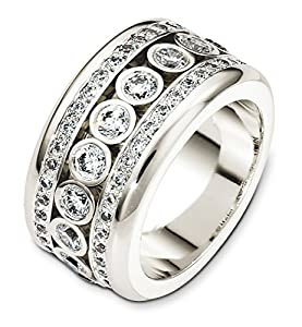Mens Sterling Silver, Dancing Dia. 11.5MM Wedding Band, 2 cttw
