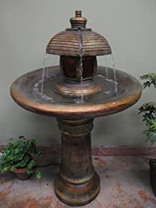 "34"" Two Tiered Garden Fountain Lit with Underwater LED light"