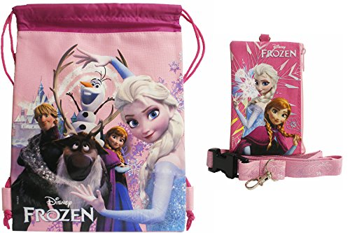 Disney Frozen All Characters 1 Pink Drawstring Bag and 1 Lanyard - 1