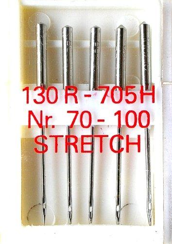 5 Nähmaschinennadeln Stretch Flachkolben 130R/705H für Nähmaschine