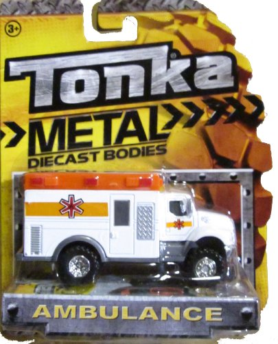 Tonka Metal Diecast Bodies White & Orange Ambulance