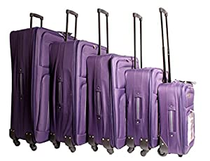 Plum Grey TC-FOUR-02 Travel Lite Luggage Set of 5 - Lightweight 4 Spinner Wheeled Purple Suitcase