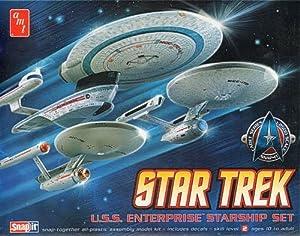 (Set of 3) Star Trek Enterprise Ship Models Set - Snap Together