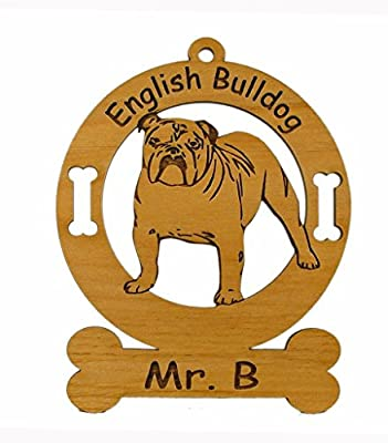 3129 English Bulldog Standing Ornament Personalized with Your Dog's Name