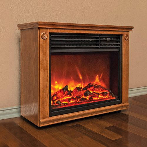 Lifesmart Pro Series Largre Room Infrared Quartz Fireplace in Burnished Oak Finish w/Remote image