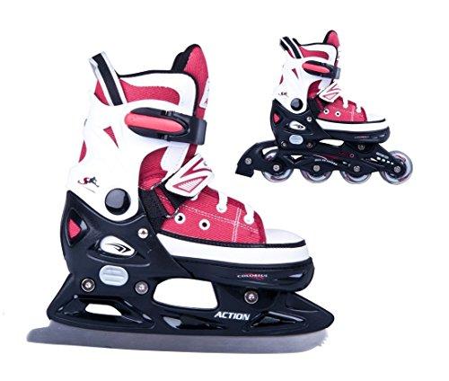 2in1-Schlittschuhe-Inliner-Gondo-ABEC5-rot-schwarz-Gr-29-32-33-36-37-40-40-43-verstellbare-Skates