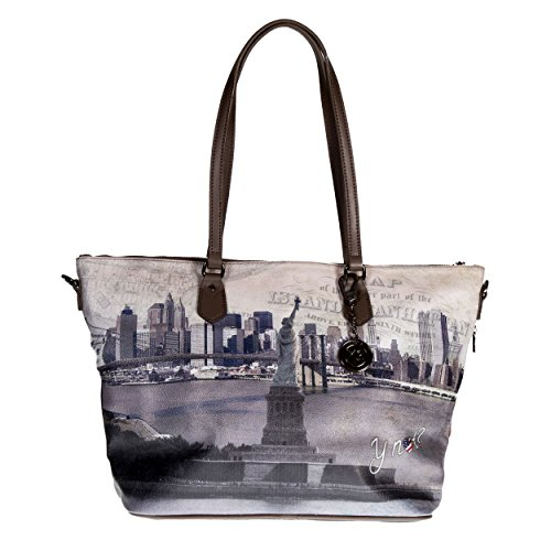 Y NOT? - Borsa shopper donna clip manici shopping grande g-397 new york liberty island