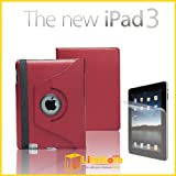 Apple iPad 2/3 Leather Case 360� Degree Rotating Multi-Function Stand Case Cover Pouch for Apple New iPad 3 HD, also fit for iPad 2, with Auto Sleep Wake Function, included BONUS GIFT: High Quality Screen Protector Accessories Pack - Red, from eLifeStore�by eLifeStore