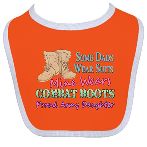 Inktastic Baby Boys' Dad's Boots Army Daughter Baby Bib