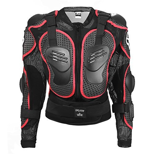 Angelstormy Men's MTB Sport Gear Spine Chest Protective Cloth Motorbike Bicycle Racing Full Body Protector Guard Armor Jacket Motowear(Red,Small)