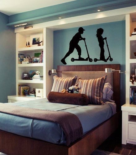 Housewares Wall Vinyl Decal Children On Scooter Boy And Girl Interior Home Art Decor Kids Nursery Removable Stylish Sticker Mural Unique Design For Any Room front-1008154