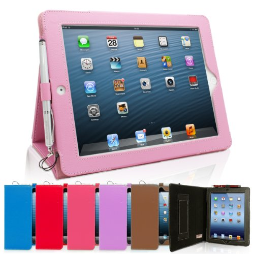 Snugg iPad 4 & iPad 3 Leather Case in Candy Pink Ð Flip Stand Cover with Elastic Hand Strap and Premium Nubuck Fibre Interior Ð Automatically Wakes and Puts the Apple iPad 4 & 3 to Sleep