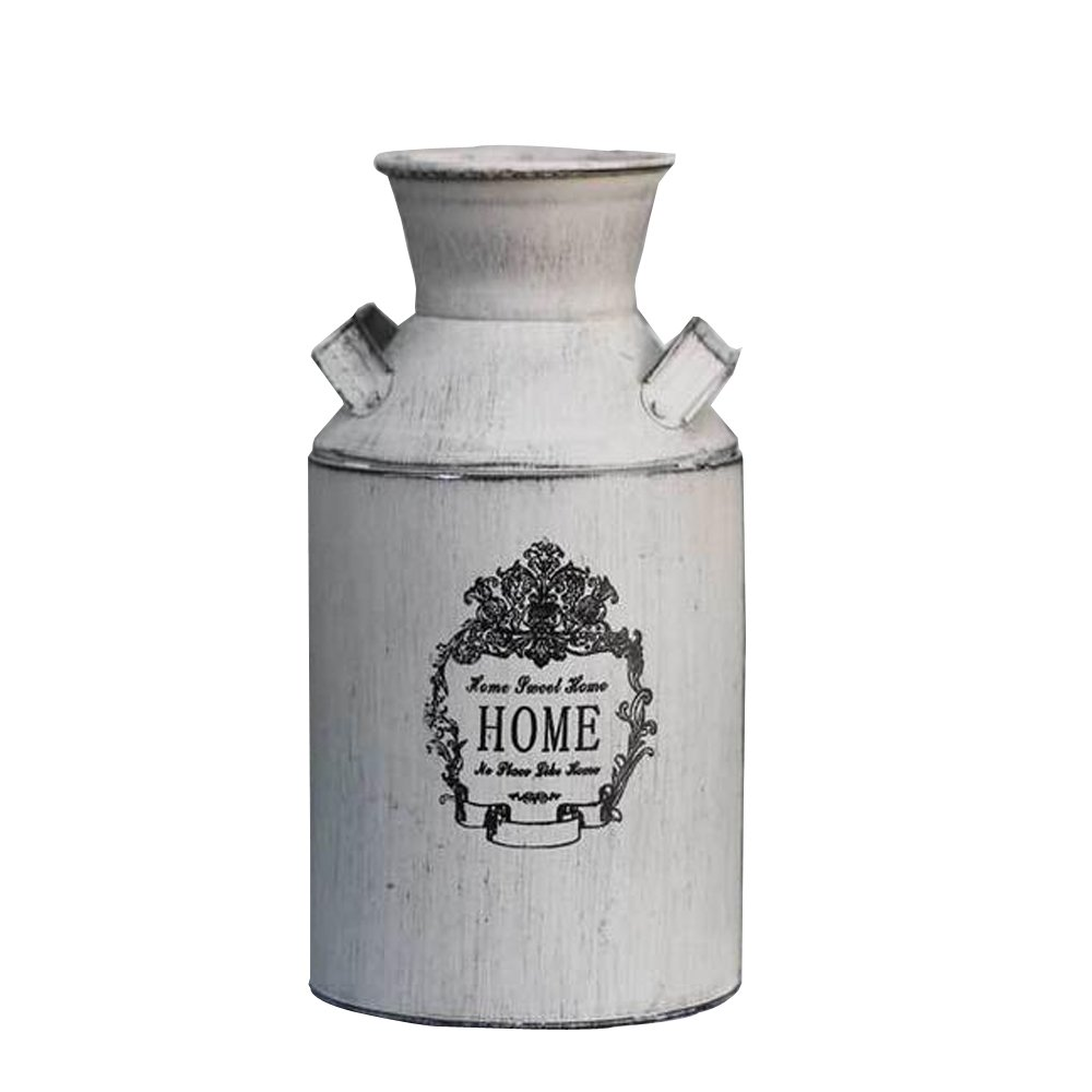 Watering Honey French Style Country Rustic Primitive Jug Vase Milk Can for Home Decoration 0