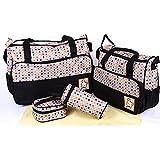 Baby Station 5pcs/set Baby Diaper Bag Nappy Mummy Bag Print Maternity Handbag Changing Baby Messenger Bag (Black)
