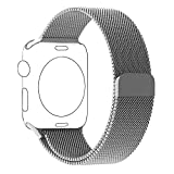 BRG Apple Watch Band Milanese Loop with Fully Magnetic Closure Clasp Mesh Stainless Steel iWatch Band Bracelet Strap for Apple Watch Series 1 Series 2 Sport&Edition 42mm Silver