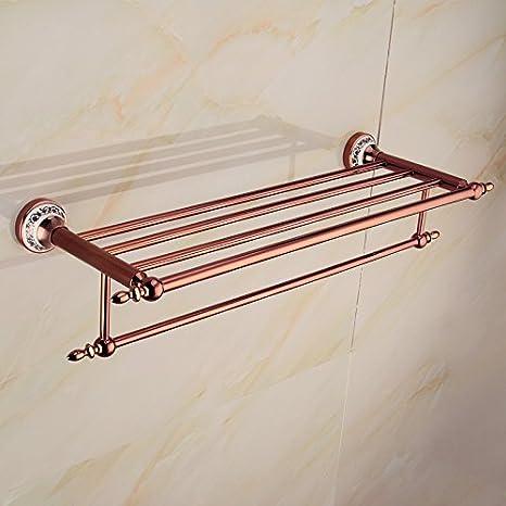 SJUN Asciugamani Per La Casa Accessori Bagno Con Doppio Bagno Asciugamano Rack Ciondoli In Metallo,Oro Rosa