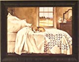 Home Alone by John Rossini 22x28 Dog Beagle Sleeping on Bed Bedroom Framed Art Print Wall Décor Pict...