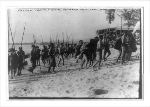 Historic Print (L): Honolulu festival--natives returning from water sports