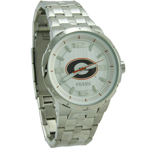 Fossil Georgia Bulldogs Stainless Steel Automatic Movement 3-Hand Watch