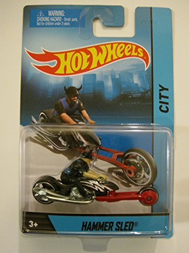 2014 Hot Wheels Hw City Hammer Sled Motorcycle with Rider Chopper Die-cast Collectible, Collectible Motorcycle