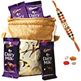 Cadbury Dairy Milk & Skylofts Chocolates Gift Pouch ( 8pcs) With Rakhi & Teeka Combo