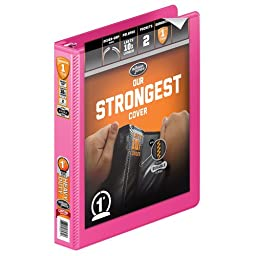 Wilson Jones Heavy Duty Round Ring View Binder with Extra Durable Hinge, 1 Inch, Customizable, Bright Pink (W363-14-212)
