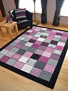 Trend Black Purple Window Design Rug. Available in 8 Sizes (160cm x 225cm) by Rugs Supermarket