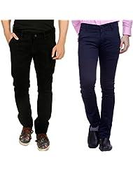 Nimegh Black Corduroy, Blue Cotton Casual Slim Fit Trouser For Men's (Pack Of 2)