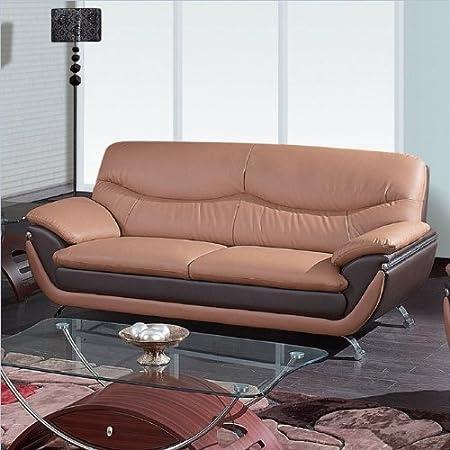 Global Furniture Leather Matching Sofa, Tan/Brown/Chrome Legs