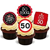12 x 50 FIFTY 50TH BIRTHDAY RED BLACK MIX - Fun Novelty PREMIUM STAND UP Edible Wafer Paper Cake Toppers Decoration