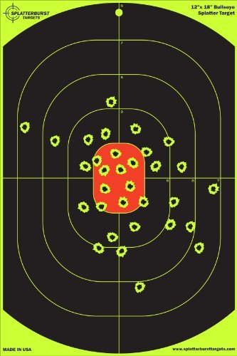 "25 Pack - 12""X18"" Bullseye Splatterburst Target - Instantly See Your Shots Burst Bright Florescent Yellow Upon Impact!"