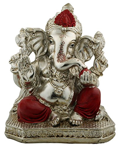 Ganesh Statue with Auspicious Red Highlights