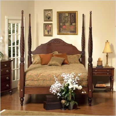 British Isle Bedroom Plantation Bed Finish: Antique Brown, Size: King