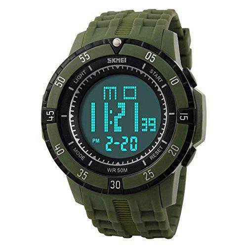 GL Mens Leisure Sport digitale LED allarme settimana calendario cronografo impermeabile orologio da polso, army Verde