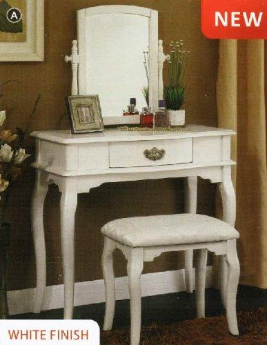 Madera English Style White Finish Vanity Table Set front-1018166