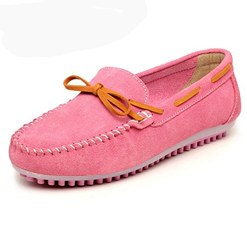 T-JULY Women Breathable Cosy Slip-on Bowknot Casual Sneakers Anti-slip Flat Light Loafers Boat Shoes Pink 7 M US (Light Pink Roshe Run compare prices)