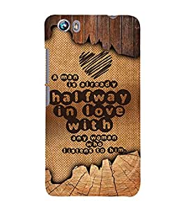 Man Love Quote 3D Hard Polycarbonate Designer Back Case Cover for Micromax Canvas Fire 4 A107