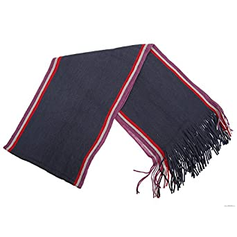 Mens Knitted College Winter Scarf (182cm x 26cm) (Navy)