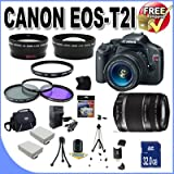 51RYeQyd%2B6L. SL160  Top 10 Digital SLR Camera Bundles for February 12th 2012   Featuring : #4: Canon EOS Rebel T3i 18 MP CMOS Digital SLR Camera and DIGIC 4 Imaging with EF S 18 55mm f/3.5 5.6 IS Lens &amp; Canon 55 250IS Lens + 58mm 2x Telephoto lens + 58mm Wide Angle Lens (4 Lens Kit!!!!!!) W/32GB SDHC Memory+ Battery Grip + 2 Extra Batteries + Charger + 3 Piece Filter Kit + UV Filter + Full Size Tripod + Case +Accessory Kit