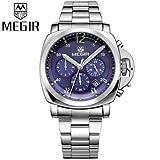 Handcuffs MEGIR 3006L Brand Military Sports Chronograph Watch with Steel Belt For Men