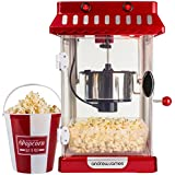 Andrew James Retro Cinema Style Kettle Popcorn Maker Includes 4 Reusable Popcorn Serving Buckets and 2 Year Manufacturer's Warranty