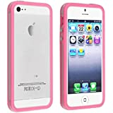 Color Clear TPU Silicone Bumper Frame Case Metal Buttons for iPhone 5 5S Color=Pink