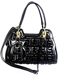 DI GRAZIA Shimmering Thread Work(PU Leather)(Shoulder Sling) Womens Satchel Handbag With Bow Charm- Black